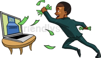 Black guy making money online. PNG - JPG and vector EPS file formats (infinitely scalable). Image isolated on transparent background.