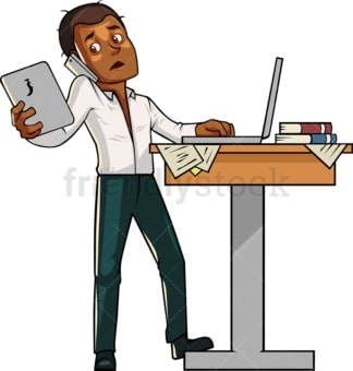 Black man multitasking. PNG - JPG and vector EPS file formats (infinitely scalable). Image isolated on transparent background.