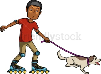 Black man roller skating with dog. PNG - JPG and vector EPS file formats (infinitely scalable). Image isolated on transparent background.