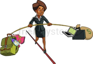 Black woman balancing work and home. PNG - JPG and vector EPS file formats (infinitely scalable). Image isolated on transparent background.