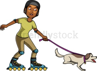 Black woman roller skating with dog. PNG - JPG and vector EPS file formats (infinitely scalable). Image isolated on transparent background.