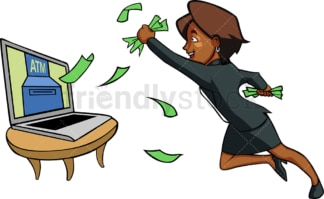 Black woman with computer printing money. PNG - JPG and vector EPS file formats (infinitely scalable). Image isolated on transparent background.
