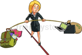 Business woman balancing work and home. PNG - JPG and vector EPS file formats (infinitely scalable). Image isolated on transparent background.