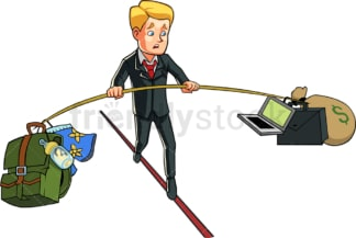 Businessman balancing business and personal life. PNG - JPG and vector EPS file formats (infinitely scalable). Image isolated on transparent background.
