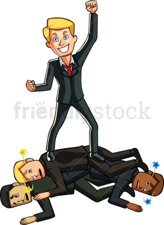 Businessman defeating competition. PNG - JPG and vector EPS file formats (infinitely scalable). Image isolated on transparent background.