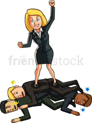 Businesswoman beating her competition. PNG - JPG and vector EPS file formats (infinitely scalable). Image isolated on transparent background.