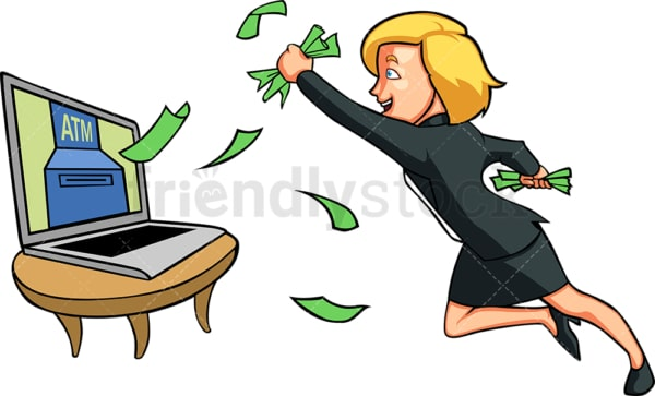Businesswoman making money online. PNG - JPG and vector EPS file formats (infinitely scalable). Image isolated on transparent background.