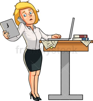 Businesswoman while multitasking. PNG - JPG and vector EPS file formats (infinitely scalable). Image isolated on transparent background.