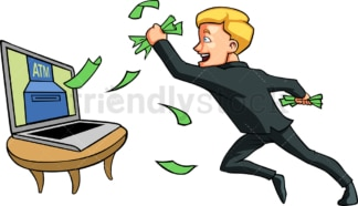 Man catching money coming out of computer. PNG - JPG and vector EPS file formats (infinitely scalable). Image isolated on transparent background.