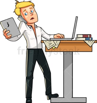Man multitasking while working. PNG - JPG and vector EPS file formats (infinitely scalable). Image isolated on transparent background.