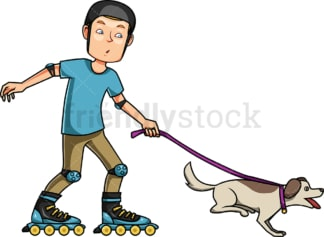 Man roller blading with his dog. PNG - JPG and vector EPS file formats (infinitely scalable). Image isolated on transparent background.