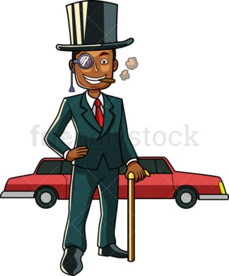 Rich black man with limousine. PNG - JPG and vector EPS file formats (infinitely scalable). Image isolated on transparent background.