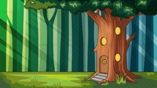 Treehouse in the forest background in 16:9 aspect ratio. PNG - JPG and vector EPS file formats (infinitely scalable).