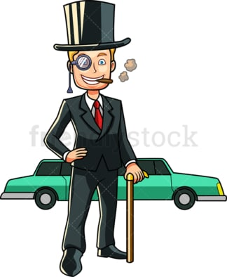 Wealthy man with limousine. PNG - JPG and vector EPS file formats (infinitely scalable). Image isolated on transparent background.