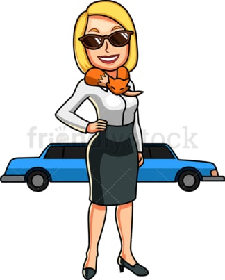 Wealthy woman with limousine. PNG - JPG and vector EPS file formats (infinitely scalable). Image isolated on transparent background.