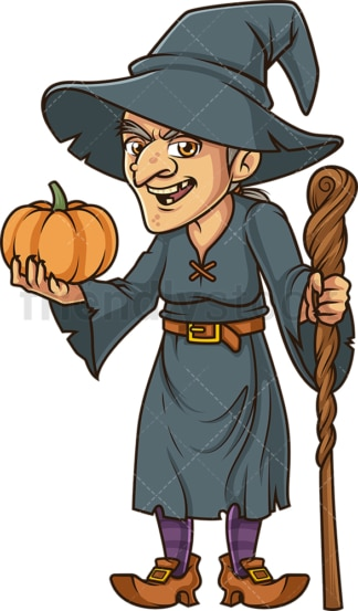Witch holding a pumpkin. PNG - JPG and vector EPS (infinitely scalable).