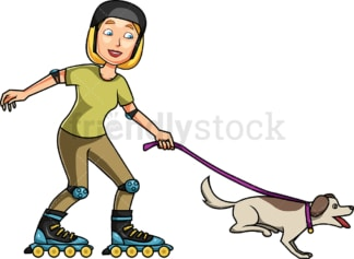 Woman roller skating with energetic dog. PNG - JPG and vector EPS file formats (infinitely scalable). Image isolated on transparent background.