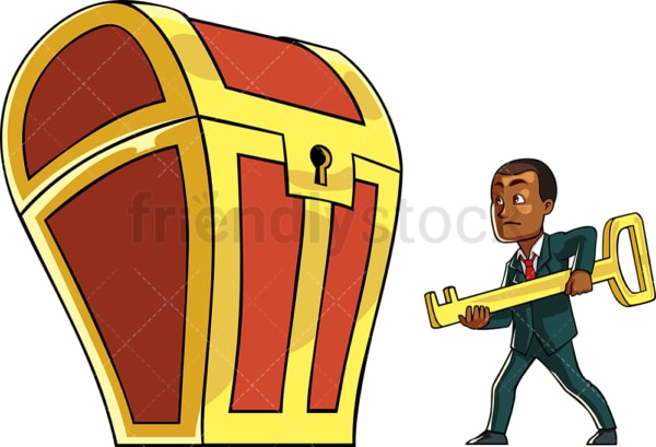 Black businessman to unlock treasure chest. PNG - JPG and vector EPS file formats (infinitely scalable). Image isolated on transparent background.