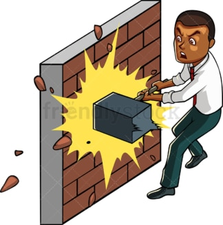 Black businessman trying to break wall. PNG - JPG and vector EPS file formats (infinitely scalable). Image isolated on transparent background.