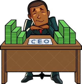 Black ceo with stacks of cash. PNG - JPG and vector EPS file formats (infinitely scalable). Image isolated on transparent background.