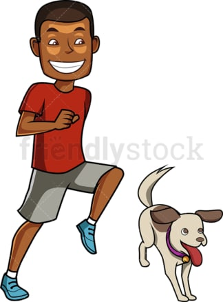 Black man jogging with his dog. PNG - JPG and vector EPS file formats (infinitely scalable). Image isolated on transparent background.