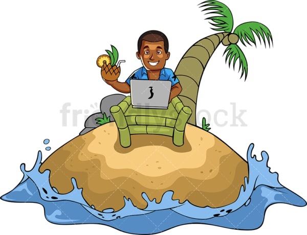Black man on tropical island with laptop. PNG - JPG and vector EPS file formats (infinitely scalable). Image isolated on transparent background.
