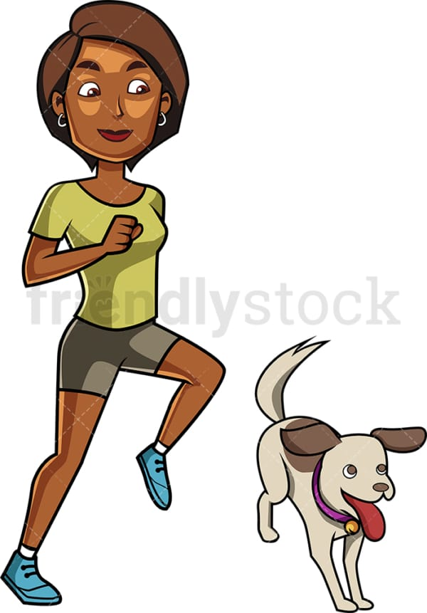 Black woman and dog jogging. PNG - JPG and vector EPS file formats (infinitely scalable). Image isolated on transparent background.