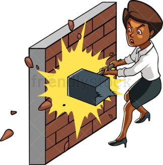 Black woman hammering brick wall. PNG - JPG and vector EPS file formats (infinitely scalable). Image isolated on transparent background.