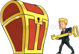 Businessman opening treasure chest. PNG - JPG and vector EPS file formats (infinitely scalable). Image isolated on transparent background.