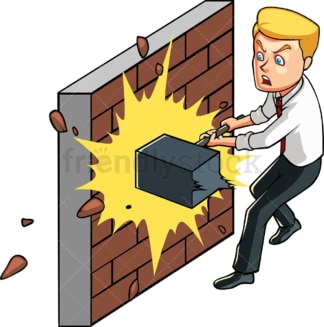 Businessman smashing wall with hammer. PNG - JPG and vector EPS file formats (infinitely scalable). Image isolated on transparent background.