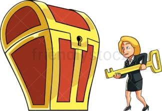 Businesswoman opening treasure chest. PNG - JPG and vector EPS file formats (infinitely scalable). Image isolated on transparent background.