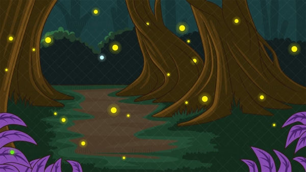 Enchanted dark forest background in 16:9 aspect ratio. PNG - JPG and vector EPS file formats (infinitely scalable).