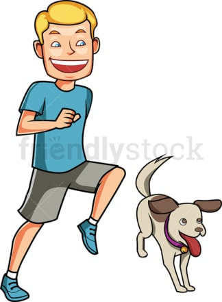 Energetic man running with his dog. PNG - JPG and vector EPS file formats (infinitely scalable). Image isolated on transparent background.