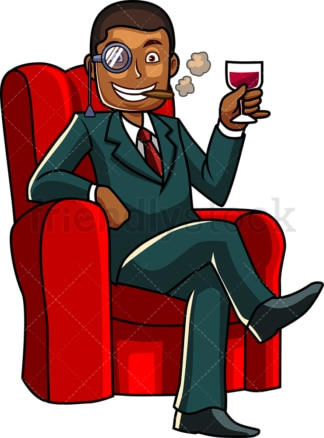 Prosperous black man drinking wine. PNG - JPG and vector EPS file formats (infinitely scalable). Image isolated on transparent background.