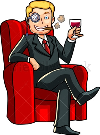 Rich man relaxing drinking wine. PNG - JPG and vector EPS file formats (infinitely scalable). Image isolated on transparent background.