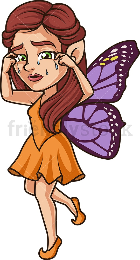 Sad fairy crying. PNG - JPG and vector EPS (infinitely scalable).