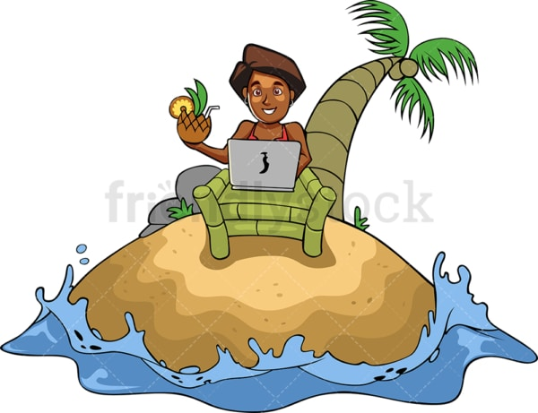 Successful black business woman on vacation. PNG - JPG and vector EPS file formats (infinitely scalable). Image isolated on transparent background.