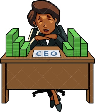 Successful black woman ceo. PNG - JPG and vector EPS file formats (infinitely scalable). Image isolated on transparent background.