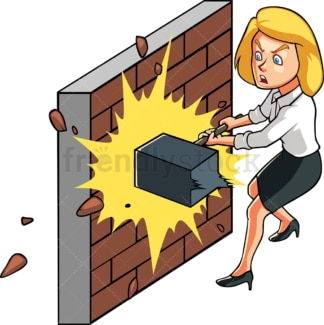 Unstoppable businesswoman. PNG - JPG and vector EPS file formats (infinitely scalable). Image isolated on transparent background.