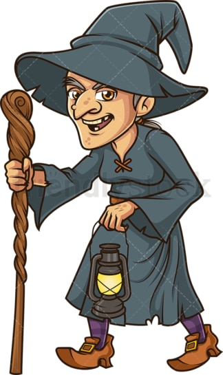 Witch walking holding lantern. PNG - JPG and vector EPS (infinitely scalable).