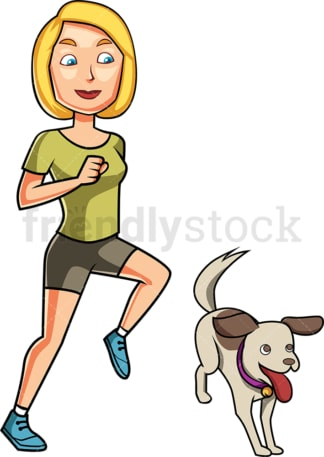 Woman and dog jogging. PNG - JPG and vector EPS file formats (infinitely scalable). Image isolated on transparent background.