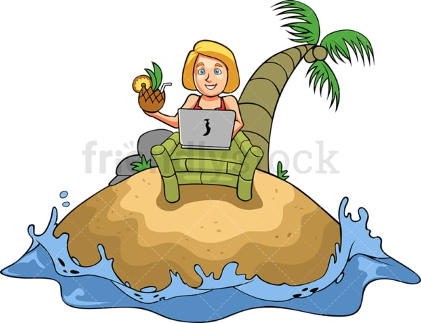 Woman working while on vacation. PNG - JPG and vector EPS file formats (infinitely scalable). Image isolated on transparent background.