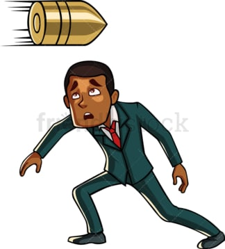 Black businessman dodges bullet. PNG - JPG and vector EPS file formats (infinitely scalable). Image isolated on transparent background.