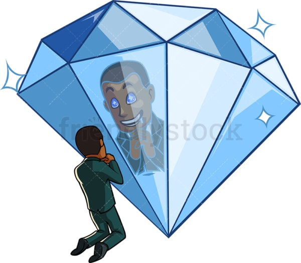 Black businessman smiling at his diamond reflection. PNG - JPG and vector EPS file formats (infinitely scalable). Image isolated on transparent background.