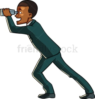 Black businessman with binoculars. PNG - JPG and vector EPS file formats (infinitely scalable). Image isolated on transparent background.