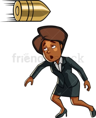 Black businesswoman dodging bullet. PNG - JPG and vector EPS file formats (infinitely scalable). Image isolated on transparent background.