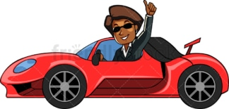 Black businesswoman driving flashy car. PNG - JPG and vector EPS file formats (infinitely scalable). Image isolated on transparent background.