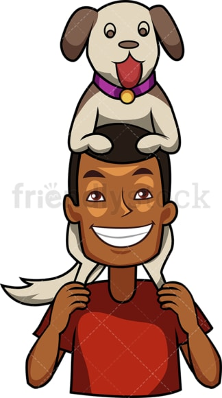 Black man holding his dog on shoulders. PNG - JPG and vector EPS file formats (infinitely scalable). Image isolated on transparent background.