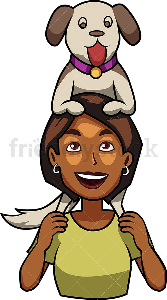 Black woman holding dog on shoulders. PNG - JPG and vector EPS file formats (infinitely scalable). Image isolated on transparent background.