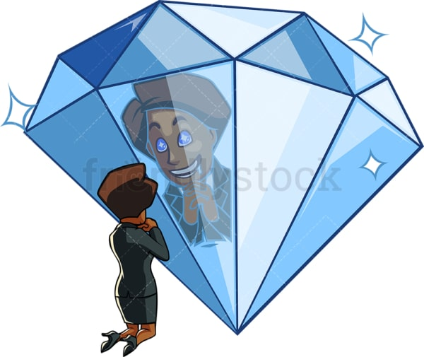 Black woman in love with a diamond. PNG - JPG and vector EPS file formats (infinitely scalable). Image isolated on transparent background.